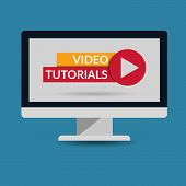 Video Tutorial  Computer Flat Design Illustration Eps 10 Vector poster
