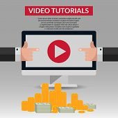 Flat Video Tutorial Design With Money And Hand Illustration Eps 10 Vector poster
