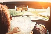 Woman Traveling With Her Lovely Beagle Dog By Convertible Car And Planning Itinerary Using The Paper poster