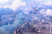Hong Kong Skyline Aerial. View At Tsing Tsuen Road And Tsing Yi Island. Private Jet Fly To Hong Kong poster