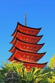The famed Pagoda at Itsukushima Shrine on Miyajima Island, Japan.