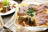 Home-made Greek moussaka.  Eggplant layered with meat sauce, topped with bechamel sauce.