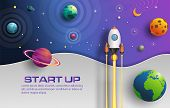 Paper Art Style Of Rocket Flying In Space, Start Up Concept, Design Banner Template, Flat-style Vect poster