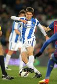 BARCELONA - FEB 4: Mikel Aramburu of Real Sociedad in action during Spanish league match against FC