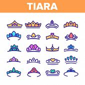 Tiara, Royal Accessory Vector Thin Line Icons Set. Tiara, Diadem Types Linear Illustrations. Queen C poster