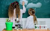 Science Matters. Laboratory School Classroom. School Children In Science Classroom. Microscope And L poster