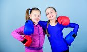 Confident Teens. Female Boxers. Boxing Provide Strict Discipline. Competitors On Ring And Friends In poster