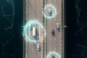 4k Aerial View Of Self Driving Autopilot Cars Driving On A Highway With Technology Tracking Them, Sh poster