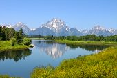 stock photo of bend over  - View of Grand Teton National Park over the Snake River in Wyoming - JPG