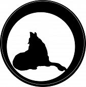 The Logo Dog  Or Wolf For Tattoo Or T-shirt Design Or Outwear.  Cute Print Style Dog  Or Wolf  Backg poster