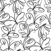 Butterflies Hand Drawn Seamless Pattern. Black Outline Exotic Bugs On White Background. Retro Flying poster