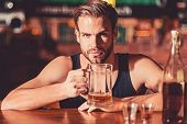 He Is A Big Fan Of Beer. Addicting To Alcoholic Drink. Alcohol Addict With Beer Mug. Man Drinker In  poster