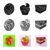 Vector Illustration Of Confectionery And Culinary Logo. Collection Of Confectionery And Product Stoc poster