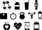 Fitness Vector Icons That Promote Health  And An Active Lifestyle - Thirteen In Total With Subjects  poster