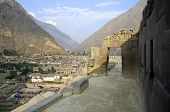 image of old spanish trail  - Incan fortress at the town of Ollantaytambo in the Sacred Valley of the Incas  - JPG