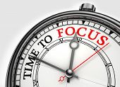 Time To Focus Concept Clock Closeup