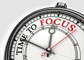 Time To Focus Concept Clock Closeup