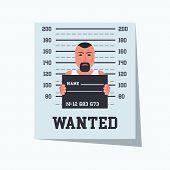 Wanted Criminal. Placard Template With Arrested Photo. Missing Announce. Wanted Man. Vector Illustra poster