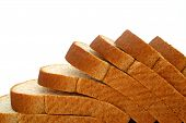 picture of fresh slice bread  - close up on sliced bread in front of a white background - JPG