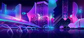 Future Metropolis Streets Night Skyline Cartoon Vector With Illuminated Blue And Violet Neon Lights  poster