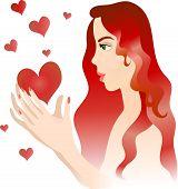 Chica con corazones