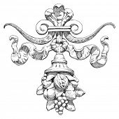 Cornucópia (Corno da abundância) - um símbolo de abundância e riqueza. O elemento arquitetônico sobre o led