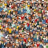 Large Group Of People. Seamless Background. Business People, Teamwork Concept. Flat Vector Illustrat poster