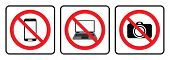 No Mobile Phone Sign,no Laptop Icon,no Camera Symbol Drawing By Illustration.prohibition Sign Collec poster