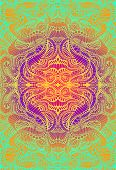 Psychedelic Trippy Colorful Fractal Mandala, Gradient Bright Color Outline, On Vibrant Gradient Colo poster