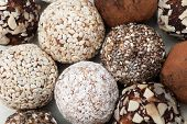 Energy Ball With Dried Fruits, Sesame, Linen, Walnuts ,coconut Flakes. Close Up, Macro,vegan Homemad poster