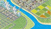 Colorful cartoon isometric city