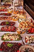 Buffet Table With Cold Snacks And Delicious Appetizers. Catering Food Event Banquet Table. poster