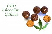 CBD Edibles. Chocolate CBD and THC Infused Edibles. Chocolate Pot Truffles.  Desert. Medical and rec poster