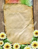 Old Paper With Bunch Of Flowers On The Grunge Abstract Background.