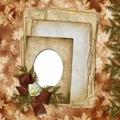 Romantic Vignette On The Abstract Background In Scrapbooking Style.