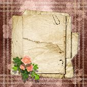 Vintage Paper With A Roses On The Vintage Background.