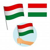 Hungary Flag In Hand. Patriotic Background. National Flag Of Hungary Vector Illustration poster