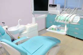 stock photo of medical office  - Modern interior of a dentist office with equipment - JPG
