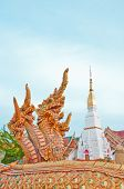 Fountain Naga In Thai Style At Wat Phra Thad Cheng Chum