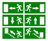 Vector emergency exit signs set