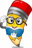 Mascot Illustration of a Pencil Reading a Book