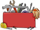 Ilustração de placa em branco da caixa de ferramentas vermelha com ferramentas de carpintaria