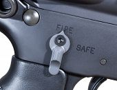 foto of ar-15  - Ambidextrous fire controls on an AR rifle ready to fire - JPG