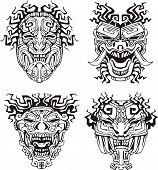 image of cultural artifacts  - Aztec monster totem masks - JPG
