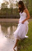 Brunette In White Dress