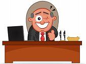 Business Cartoon - Boss Man Winking