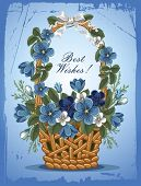 Romantic background with flowers of forget-me-not in the basket, painted in vintage style