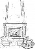 vector - fireplace with a supply of timber