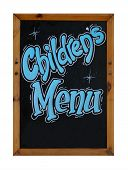 Childrens menu sign on blackboard or chalkboard isolated on white background.