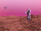 First Man On Mars Planet - 3D Render
